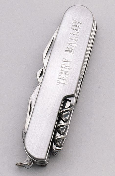 Engraved pocket knife. Nice quality stainless steel. Great guy gift for him!
