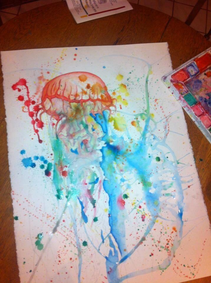 Large watercolor jellyfish painting | Art | Pinterest ...
