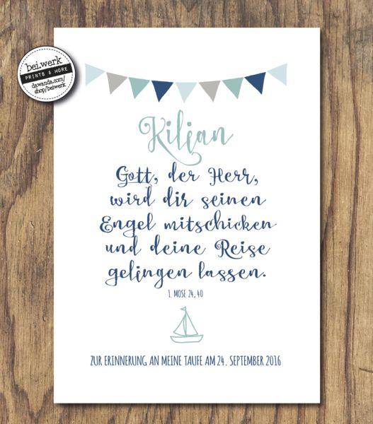 """Weiteres - Segenswunsch - Taufe - Kommunion - """"KILIAN"""" - ein Designerstück von beiwerk bei DaWanda"""