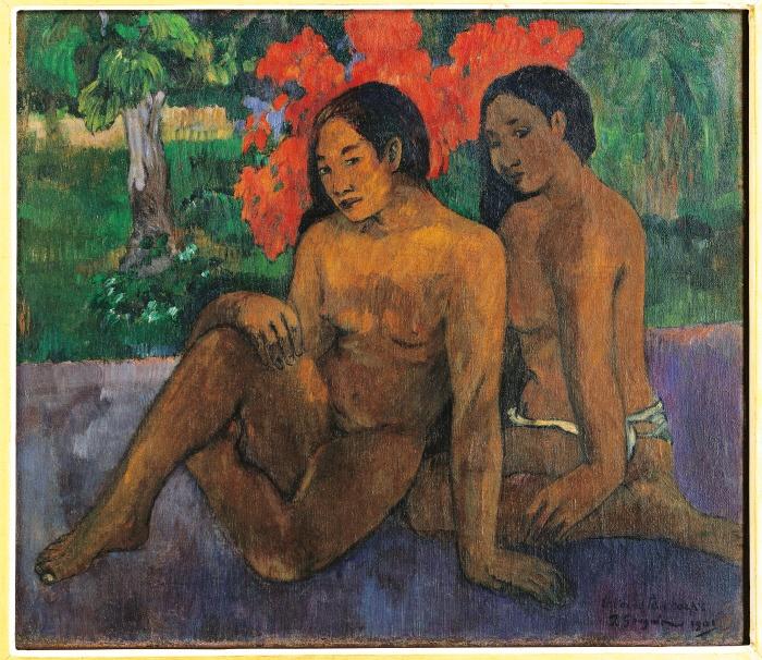 E l'oro dei loro corpi, Gauguin Paul, 1901, XX secolo, olio su tela. Francia, Parigi, Musée d'Orsay. Totale donne oro corpi nudo rosso verde albero cintura fascia bianco.  Photoservice Electa, Milano / Laurent Lecat