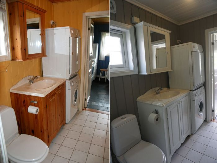 Dette gamle #badet har fått en skikkelig oppfriskning, med lyse ...