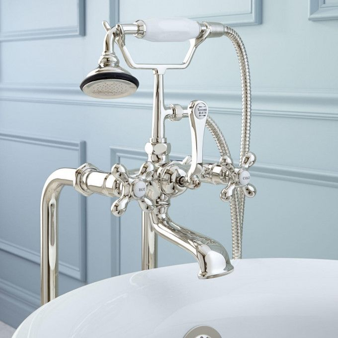 Freestanding Telephone Tub Faucet Supplies Drain Porcelain Cross Handles With Images Freestanding Tub Faucet Tub Faucet Freestanding Faucets