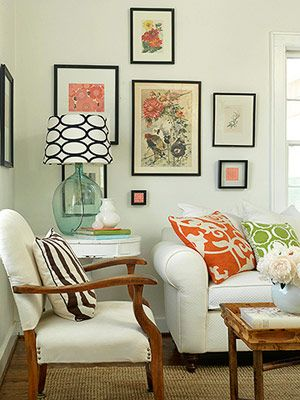 coral pillows + b&w lampshade