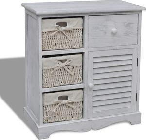 Omschrijving: Deze prachtige houten opbergkast heeft een eenvoudig, maar stijlvol ontwerp. U kunt deze kast overal plaatsen, in uw badkamer of slaapkamer! De kast wordt compleet geleverd met drie geweven manden. Deze opbergkast met manden is ideaal om er uw waardevolle spullen in op te slaan. Wie weet wordt deze kast een van uw favoriete meubels. Specificaties: Kleur: witAfmetingen: 60 x 30 x 63 cm (l x b x h)Materiaal: duurzaam houten frameLevering inclusief 3 mandenEen perfect opbe...