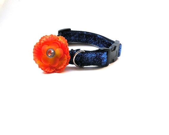 Small Blue Glitter Dog Collar with Flower by HappyPawsDogCollars, $12.95: Sparkle Cat, Flowers Attached, Cat Collars