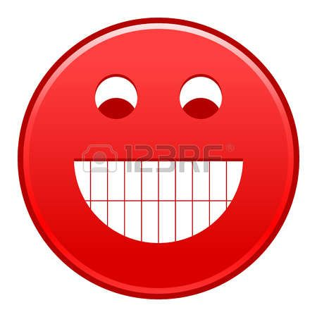 Red smiling face cheerful smiley happy emoticon. Quick and easy recolorable shape isolated from background. Vector illustration a graphic element for web internet design Vector