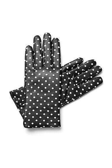 Polka Dot Printed Leather Gloves.