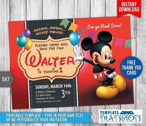 161 best Birthday Invitation Templates images on Pinterest - mickey mouse invitation template