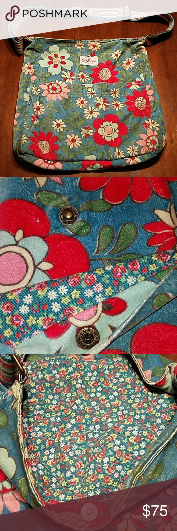 Cath Kidston London Floral Velvet Shoulder Bag Gorgeous cotton velvet large floral print on the outside with front button pocket Pretty small floral print on cotton canvas inside with two deep pockets. Large & Like new! Cath Kidston London Bags Shoulder Bags