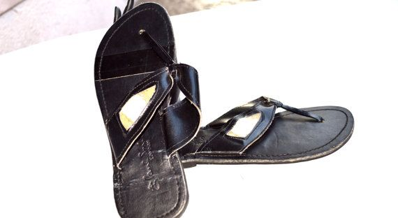Black And  White Leather Black Flats Women African by ZabbaDesigns, $35.00