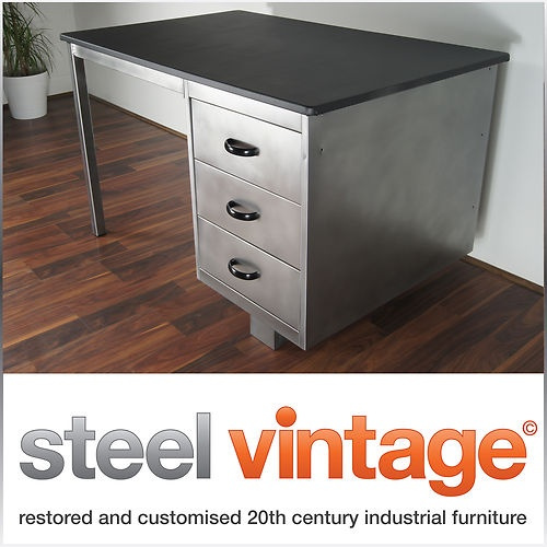 vintage metal office furniture. stripped u0026 polished vintage steel office desk metal retro industrial 1960s eames furniture