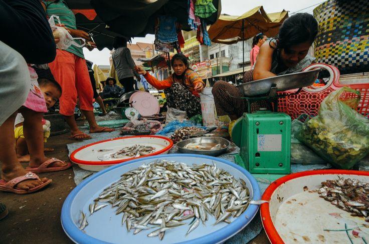 Marché de Stung Treng au Cambodge