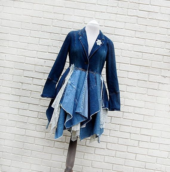Wow! Neat idea...I would do it a little different tho... Long Denim and Lace Coat by GallimaufryClothing, $125.00