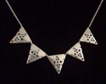 Silver tribal necklace Sara Mali