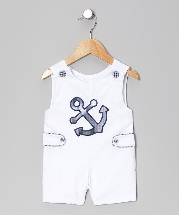 Take a look at this White Anchor Shortalls - Infant & Toddler on zulily today!
