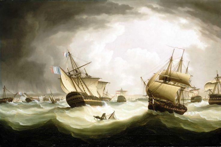 """""""The Battle of Trafalgar, 21 October 1805: end of the action"""". Pintura de Thomas Buttersworth. National Maritime Museum, Lóndres. El hundimiento en el Océano Atlántico del Santísima Trinidad terminó siendo el final de este mítico navío."""