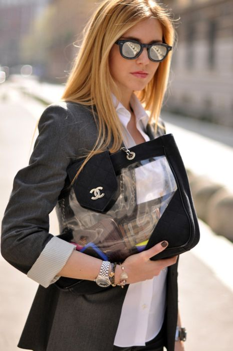 CoolChanel Transparent, Tranparents Clear, Street Style, Chic Attitude, Clear Chanel, Icons Style, Handbags Obsession, Bags Addict, Things Chanel