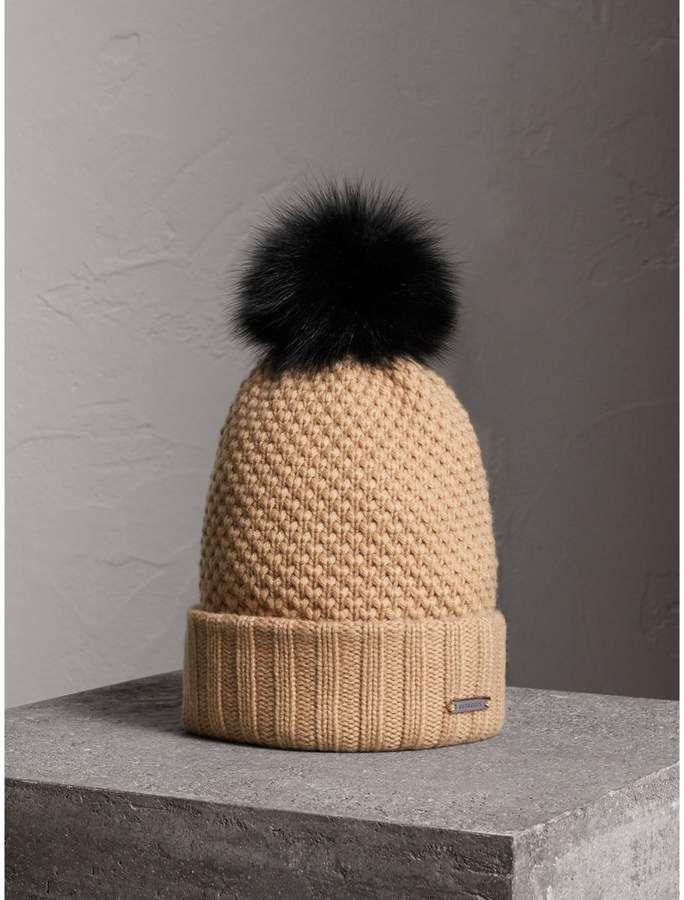a9ea7c0ba Burberry Fur Pom-Pom Wool Cashmere Beanie, Brown | Leopard print in ...