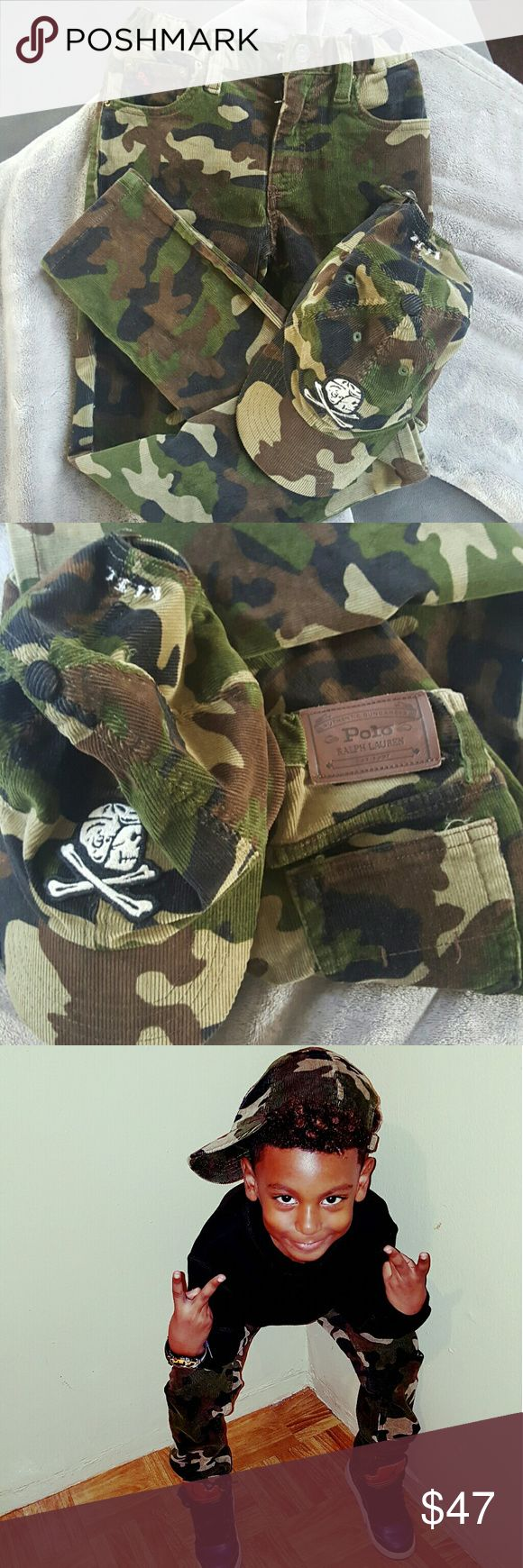 POLO RALPH LAUREN BOYS PANT AND CAP SET POLO RALPH LAUREN  BOYS PANTS SZ 6 CAP sz 4-7 CAMOUFLAGE PRINT CORDUROY MATERIAL TRUE TO SZ WORN A FEW TIMES EXCELLENT CONDITION!!!!!!! Polo by Ralph Lauren Other