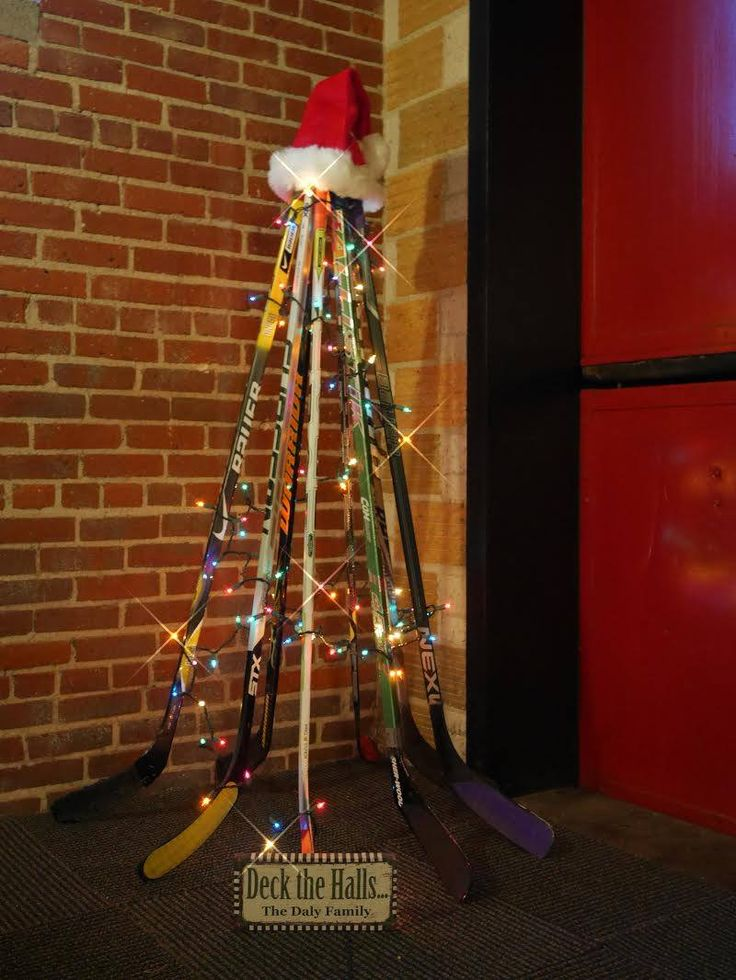 Check out this tree made from hockey sticks!