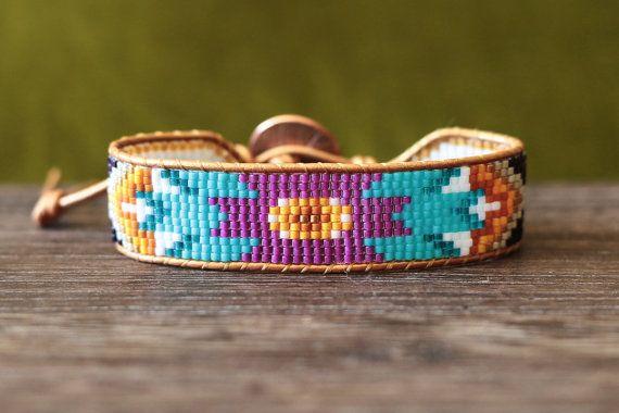 Turquoise, Purple Seed Bead and Leather Tribal Loom Beaded Wrap Bracelet                                                                                                                                                                                 Más