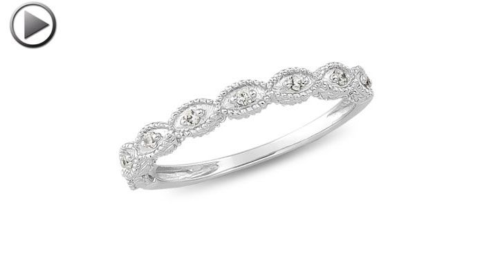 Love This : 14K White Gold Hannah Diamond Wedding Band (.08 ct)