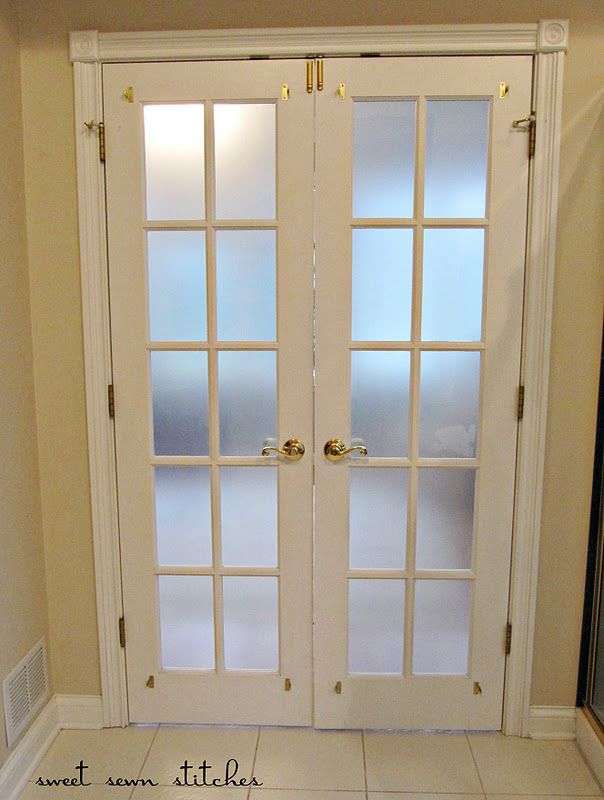 Frosted Panes for French doors using contact paper. Totally doing this in basement...