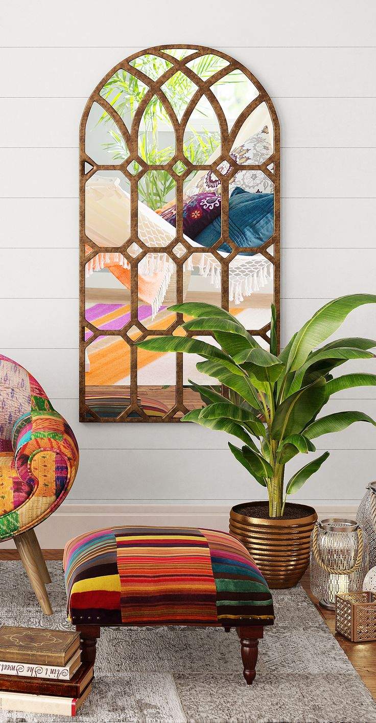 Moroccan style window mirror with bronze frame finish