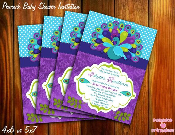 Peacock Baby Shower Invitation - 4x6 or 5x7 - Printable Digital File