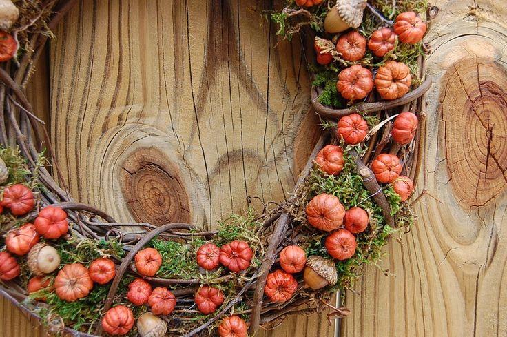 "Fall Wreath with Mini Pumpkins Putka Pods Baby Acorns Autumn Decor 18 "". $40.00, via Etsy."