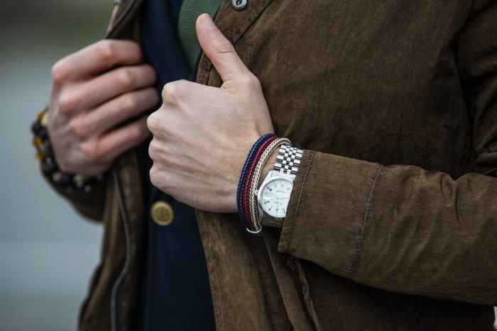 Marco Taddei (Simply Mr. T) is wearing the handcrafted San Torpe USA Bracelets. Shop these stylish accessories at WWW.FINAEST.COM | #finaest #style #bespoke #tie #santorpe #bracelet #dapper  #marcotaddei #accessory #elegance #rolex #usa