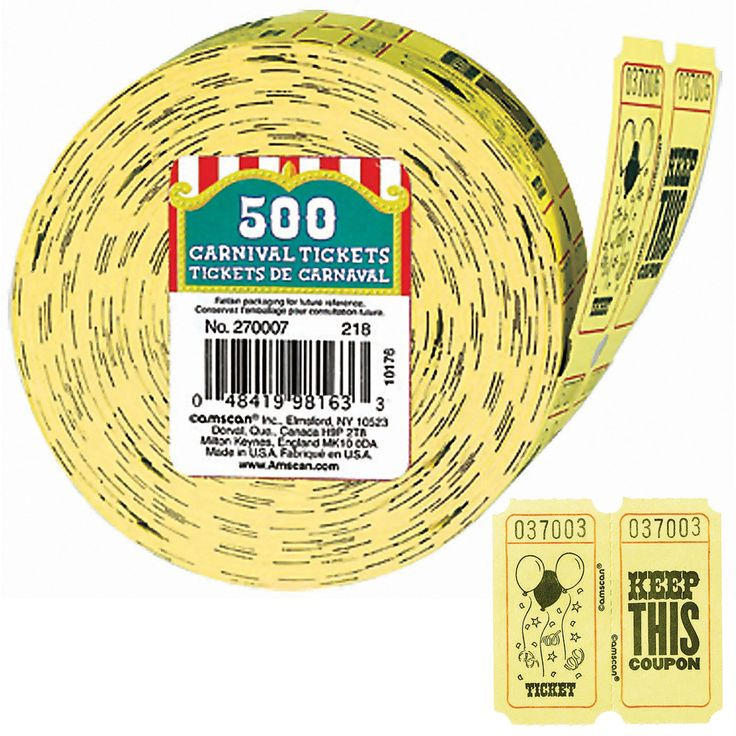 Carnival Ticket Roll Includes 500 carnival tickets. Weight (lbs) 0.39 Length (inches) 3.25 Width (inches) 3.25 Height(inches) 2