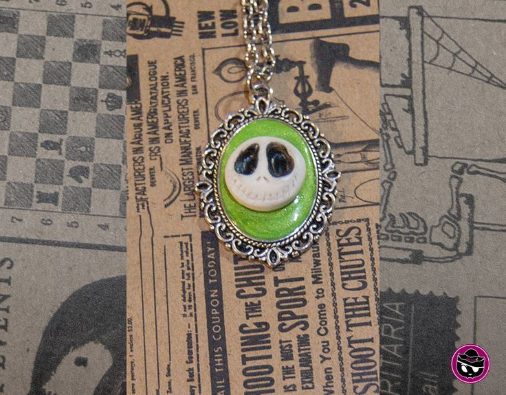 Jack Skellington Green Polymer Clay Cameo Necklace, Glow-in the-Dark, Nightmare Before Christmas - Skull Cameo on Sliver Metal Chain by Skullaby on Etsy
