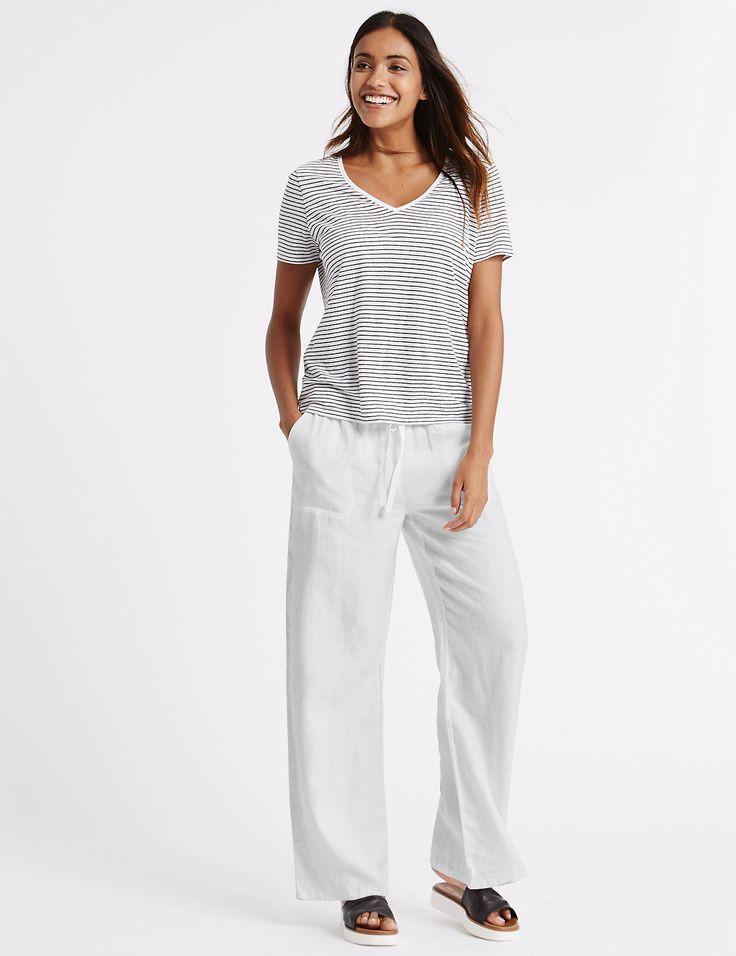 Широкие пляжные брюки из чистого льна | Marks & Spencer