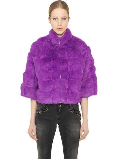 BLUGIRL SHORT RABBIT FUR COAT, FUCHSIA. #blugirl #cloth #fur & shearling