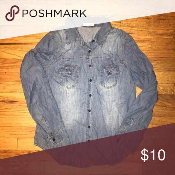 Women's denim long sleeve top Denim long sleeve button down top Tops Button Down Shirts