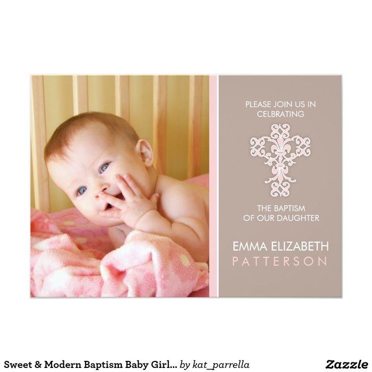 free online christening invitation making%0A Sweet  u     Modern Baptism Baby Girl Invitation