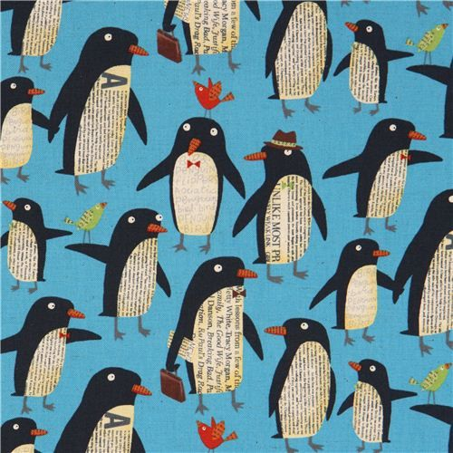 blue penguin canvas fabric by Nancy Wolff Kokka