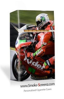Motorbike Racing cigarette case cover perfectly captured via www.smoke-screenz.com where you can overlay personal images and text onto a high quality hard plastic cigarette case