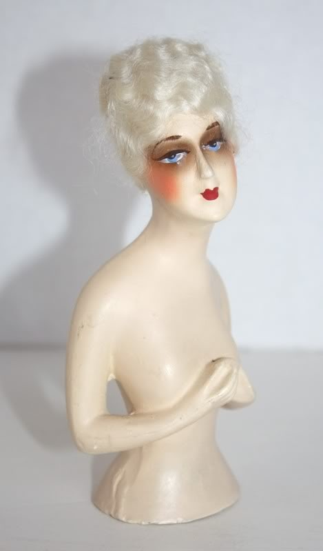 1920's Vintage Chalkware Half Doll: Chalkwar 1920S, Vintage Chalkwar, Half Dolls, Vintage Half Dol, 1920S Vintage, 1920 S Vintage, Dolls Chalkwar, Eye, Chalkwar Half