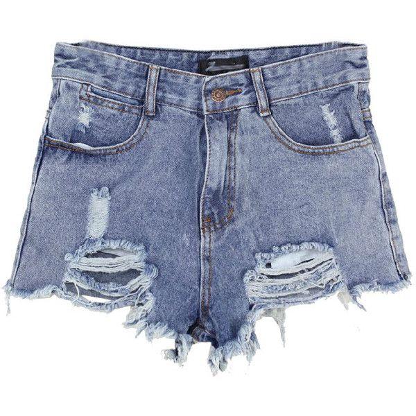 Chicnova Fashion High Waist Ripped Denim Shorts ($20) ❤ liked on Polyvore featuring shorts, bottoms, pants, chicnova, denim shorts, distressed jean shorts, high-waisted shorts, high-waisted denim shorts and acid wash high waisted shorts