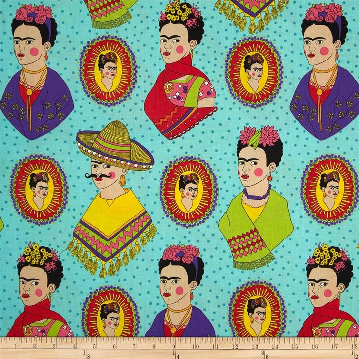 Alexander Henry Folklorico Frida Fantastico Turquoise from @fabricdotcom  Designed by De Leon Design Group for Alexander Henry, this cotton print is perfect for quilting, apparel and home decor accents. Colors include black, white, green, yellow, blue, purple, pink, red, orange, tan and shades of blue.