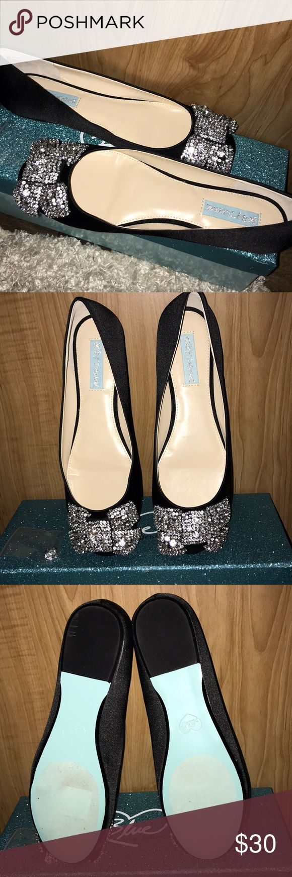 "Betsey Johnston ""blue"" flats Brand new never worn!! (Just tried on) their to small for me. I'm selling really cheap I paid $85 for them. Their so pretty for any event! Can ship immediately! Comes with mini bag of extra rhinestones . Betsey Johnson Shoes Flats & Loafers"