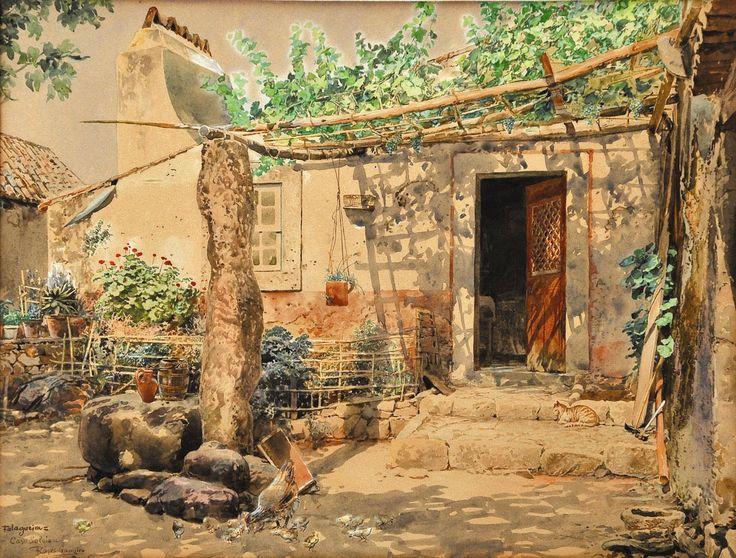 """Roque Gameiro - """"Falagueira - Casa Saloia"""" (aguarela, 1908)"""