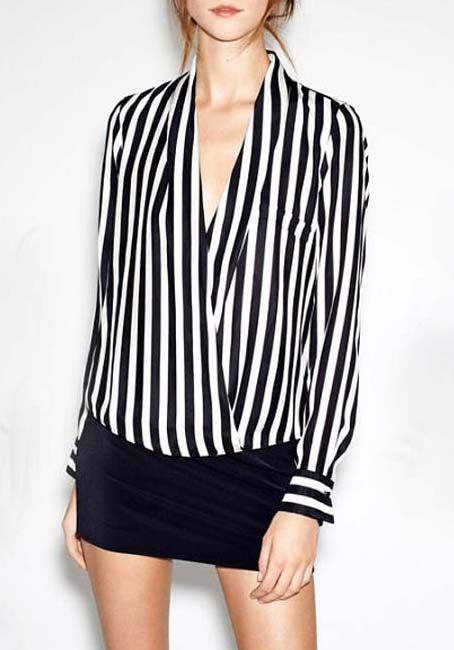 Shop Black White V Neck Vertical Stripe Blouse online. Sheinside offers Black White V Neck Vertical Stripe Blouse & more to fit your fashionable needs. Free Shipping Worldwide!: