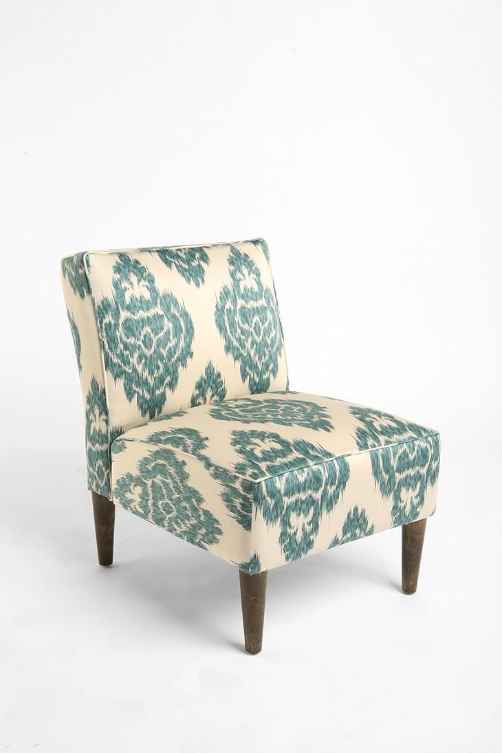 Slipper chair turquoise ikat for Slipper chair