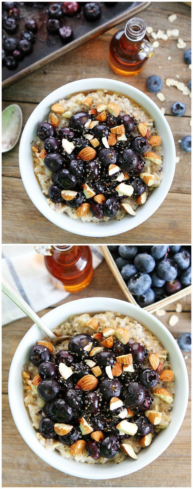 Maple Roasted Blueberry Almond Oatmeal Recipe on twopeasandtheirpod.com This simple and healthy oatmeal is a favorite breakfast at our house!