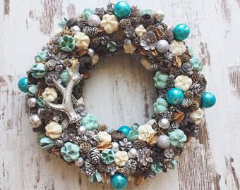 Christmas wreath blue xmas 2017 door hanger rustic vintage shabby chic home decor