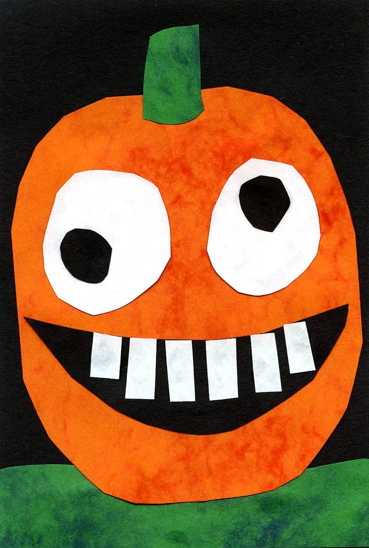 silly pumpkin collage with marble construction paper from michaels art projects for kids - Preschool Halloween Art Projects