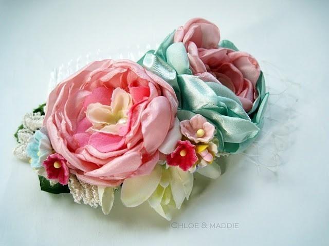 FARRAH Vintage inspired handmade fabric flowers hair comb. via Etsy.